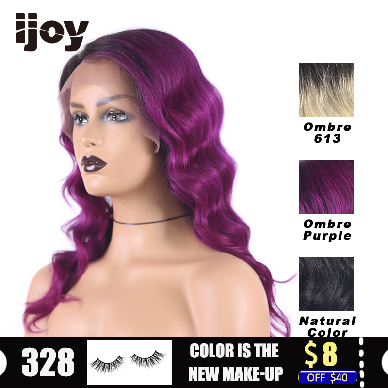 "Colored Deep Wave Wig With 4inchesx1cm Lace Front 16"" T1B Purple/613 Blonde/Natural Ombre Brazilian Human Hair Wig Non-Remy IJOY"