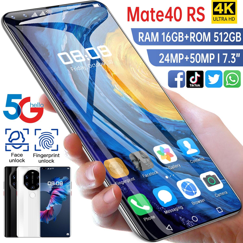 2021 Новый Smartpone Mate40 RS глобальная версия Smartphonr 16G 512G Android10 разблокирована 6800 мАч Snapdragon 888 Face ID мобильный телефон