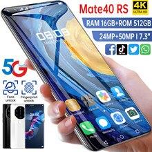2021 nova smartpone mate40 rs versão global smartphonr 16g 512g android10 desbloqueado 6800mah snapdragon 888 face id do telefone móvel