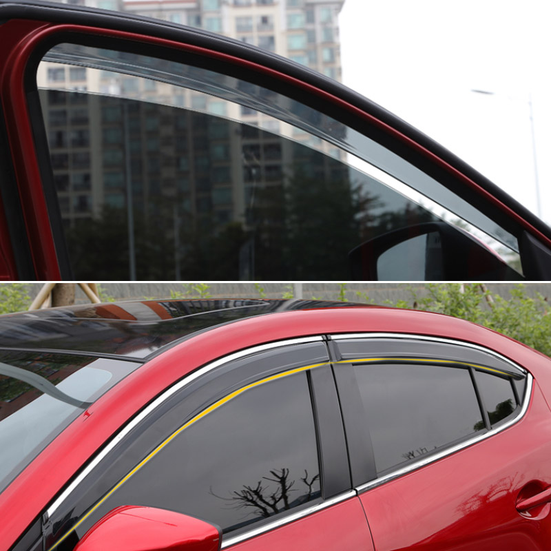Hivotd For Mazda 3 Axela hatchback sedan Auto visor Windows side Sun Rain Protection Shield Exterior accessories 2017 2018 2019 in Awnings Shelters from Automobiles Motorcycles