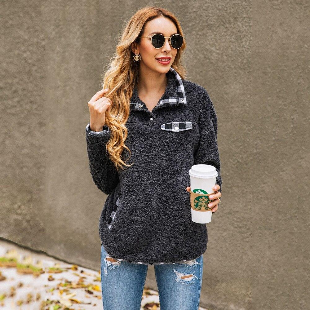 2019 Lattice Spliced Pocket Casual Plush Hoodies Women Winter Autumn Outwear Zipper Sweatshirt Long Sleeve Loose Pullovers Tops