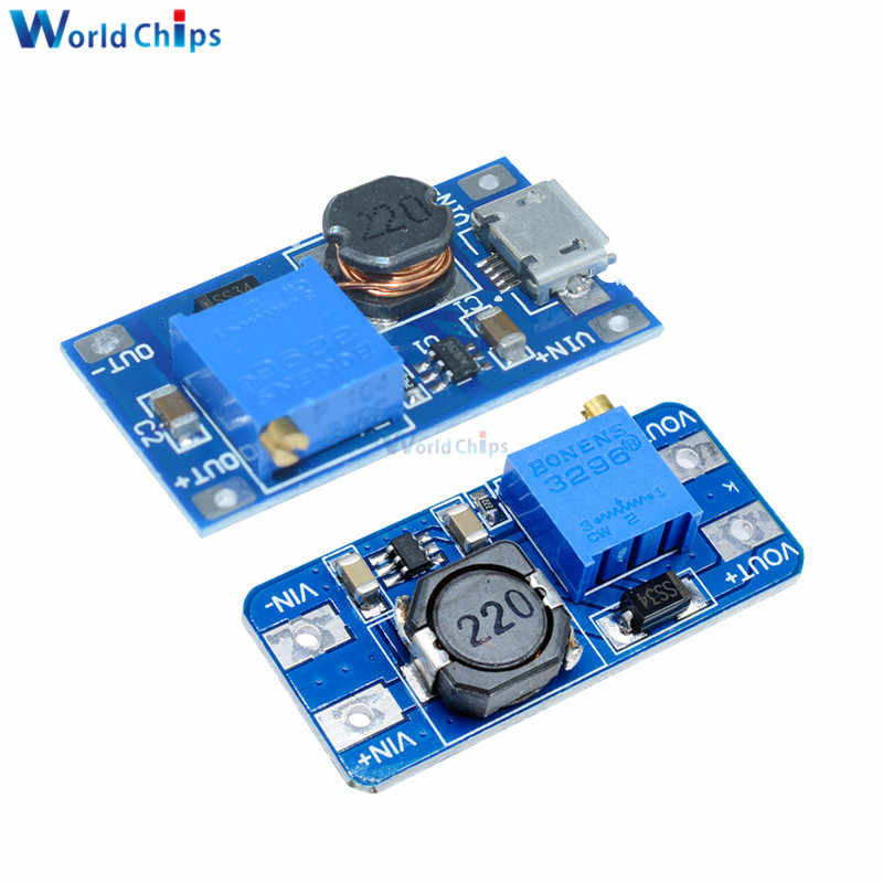 MT3608 DC-DC Module de suralimentation réglable 2A plaque de suralimentation DC-DC Module de convertisseur avec MICRO USB 2 V-24 V à 5V 9V 12V 28V