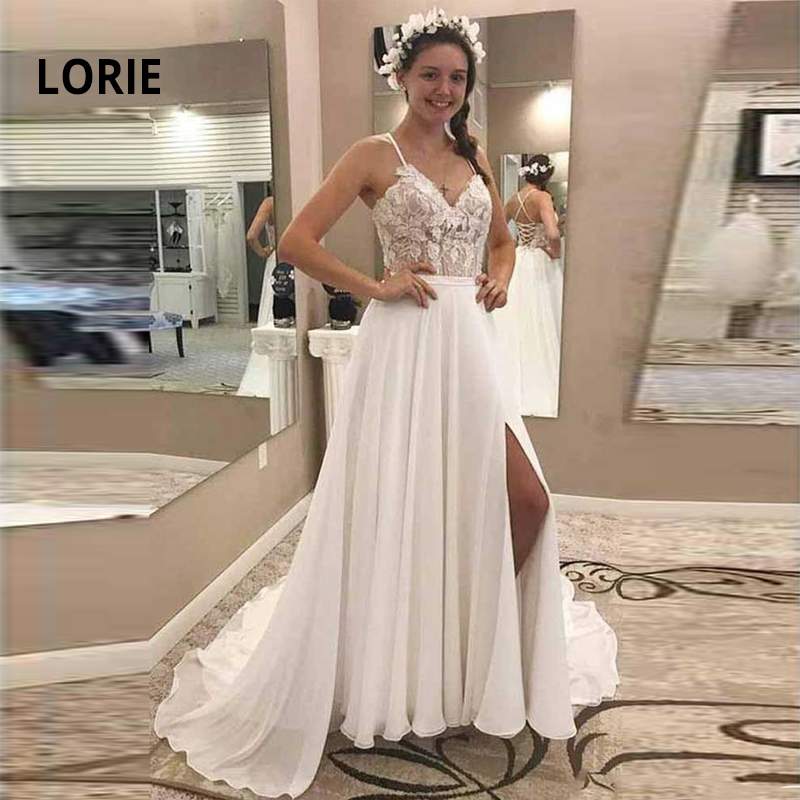 LORIE Spaghetti Strap Boho Wedding Dress 2019 Lace Appliqued With Chiffon Beach Bridal Gown A-line Lacing Bride Dress With Split