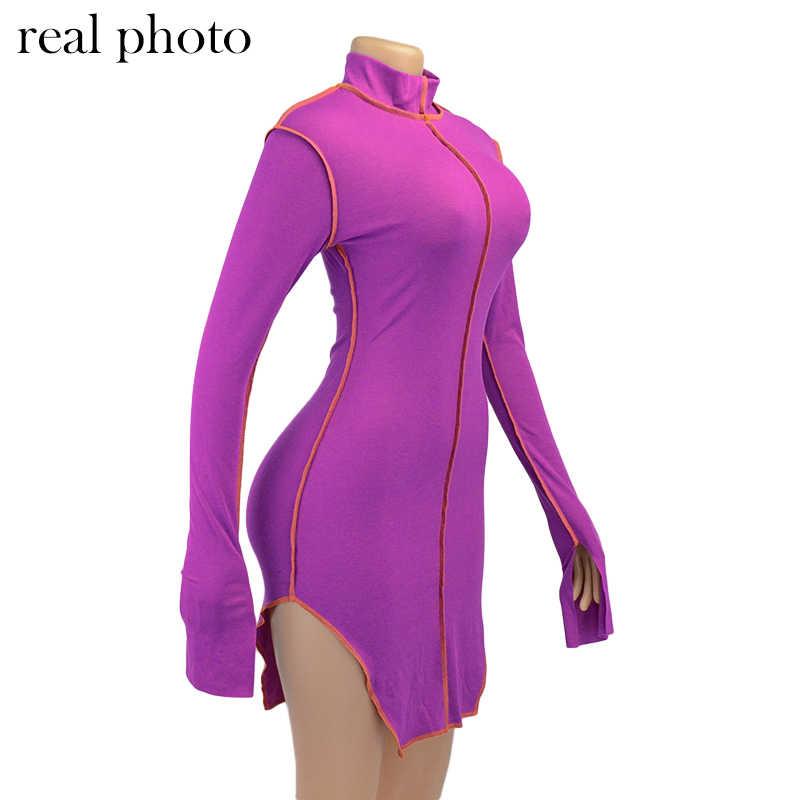 Simenual 사이드 슬릿 패치 워크 여성 캐주얼 드레스 긴 소매 Athleisure 패션 2020 Bodycon 미니 드레스 슬림 스포티 한 의류