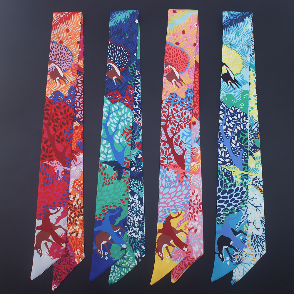 New Scarf Small Scarf National Wind Flower Wild Family Headdress Hair Band Small Scarves Spring And Summer Colorful Deer