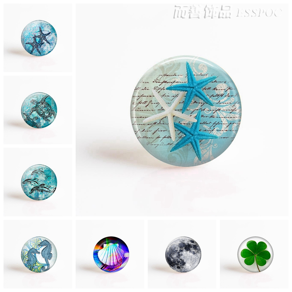 5Pcs/lot Starfish 25mm Round Glass Cabochon Sea Photo Cameo Setting Supplies For Jewelry Accessories Handmade Wholesale