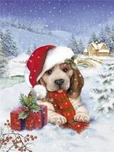 Diy Diamond Painting Cartoon Dog 5dDiamond Embroidery  Snow Scene Full Drill Square/Round Christmas Home Decor