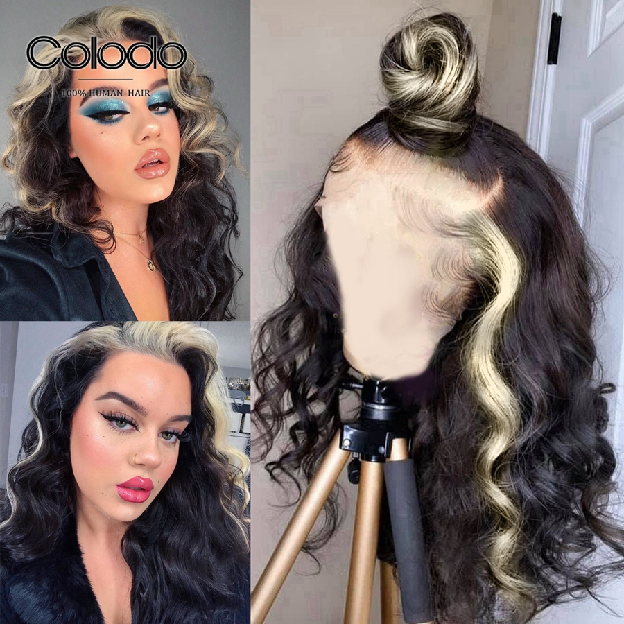 COLODO Glueless Ginger Lace Front Wig Remy Brazilian Loose Wave Wig 613 Black Highlight Lace Front Human Hair Wigs For Women