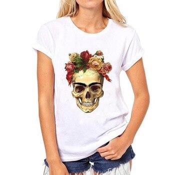 Camiseta con estampado de calavera para mujer, Camiseta holgada de manga corta con cuello redondo para verano del 2019, camiseta a la moda para mujer, Tops