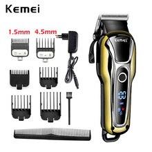 100 240V Kemeiชาร์จผมTrimmer Professional Hair Clipperเครื่องโกนหนวดตัดผมเคราไฟฟ้ามีดโกน