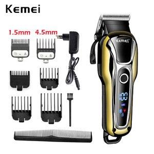 Image 1 - 100 240V kemei ricaricabile capelli trimmer tagliatore di capelli professionale rasatura dei capelli macchina di taglio di capelli barba rasoio elettrico