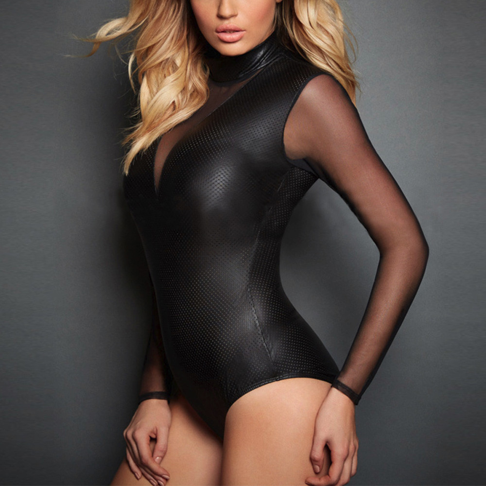 2020 casual Artificial Leather Black Bodysuit women clothes pactchwork long sleeve bodysuits v neck jumpsuit ropa mujer femme