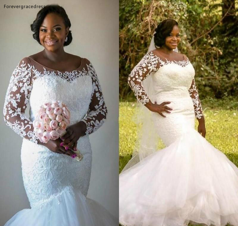 2019 Romantic Sheer Long Sleeves Wedding Dress Puffy Mermaid Lace Applique Garden Bridal Gown Custom Made Plus Size