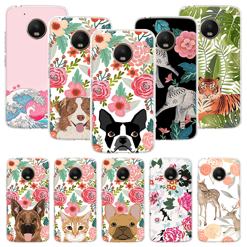 Animal Flowers Floral Elephant Case For Motorola Moto G8 G7 G6 G5S G5 E6 E5 E4 Plus G4 Play Power X4 One Action Phone Cover Coqu