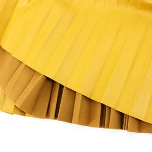 Image 5 - Jesień zima kobiety spódnice plisowana spódnica ze skóry wysokiej talii elastyczne talia linia kolano długość kobiet spódnica Faldas Mujer