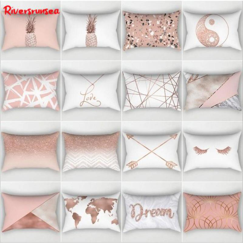 30x50cm Scandinavian Style Pink Geometric Marble Cushion Rose Gold Map Pineapple Deer Antlers Nordic Pillow Headrest For Home