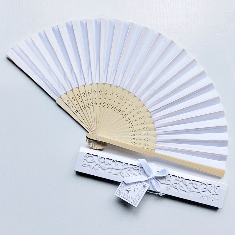 100pcs Personalized Engraved Ladies Folding Hand Silk Fan Dance Fold Vintage Fans With Gift Box Customized Wedding Party Favors