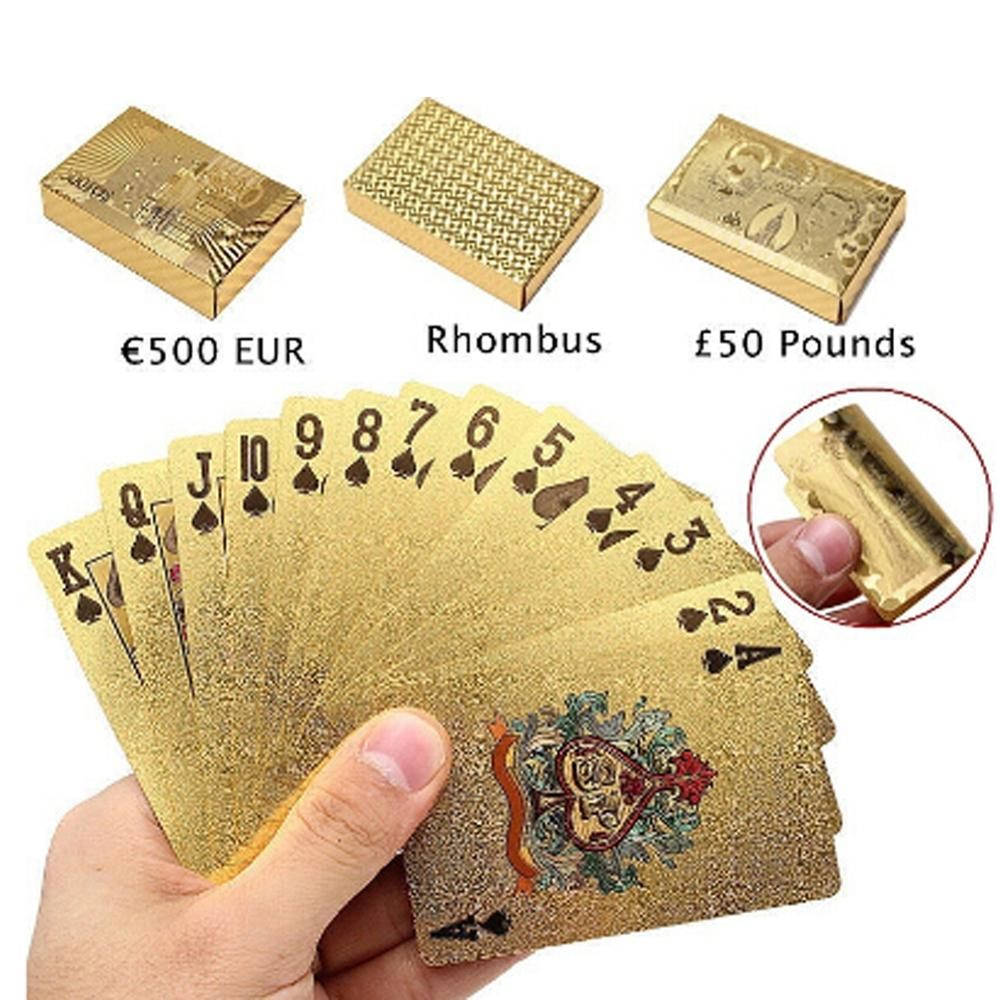 2020 Top Fashion Waterproof Gold Color Poker Cards Marvellous Luxury Foil Plated Plaid Playing Cards Deck Magic Card Party Games(China)