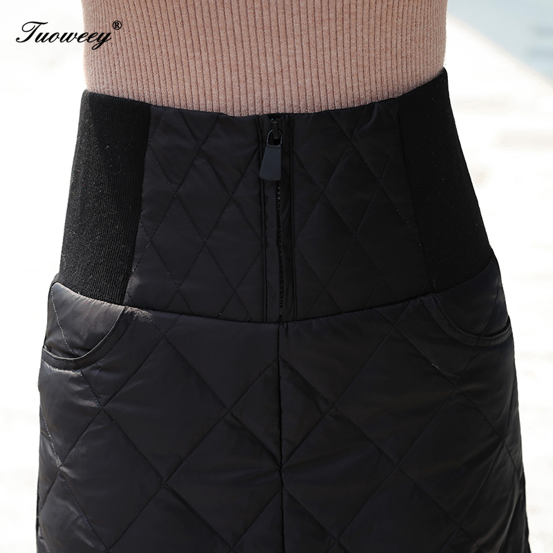 Image 5 - 4XL hot Down Cotton Skirt Women Winter Plus Size calf length 