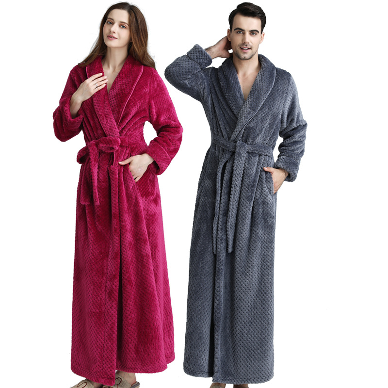 Lovers Bathrobe Winter Ladies Receive Coral Velvet Long Thickened Bathrobe M - XL Flannel Nightgown Men's Winter Robe