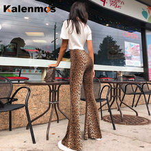 High Waist Tiger Leopard Print Flare Leggings KALENMOS Autumn Winter Women Fashion Sexy Bodycon Skinny Trousers Party Club Pants(China)