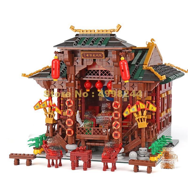 Xb01020 3820pcs สถาปัตยกรรมจีน theater อาคารบล็อกอิฐของเล่น-ใน บล็อก จาก ของเล่นและงานอดิเรก บน   1