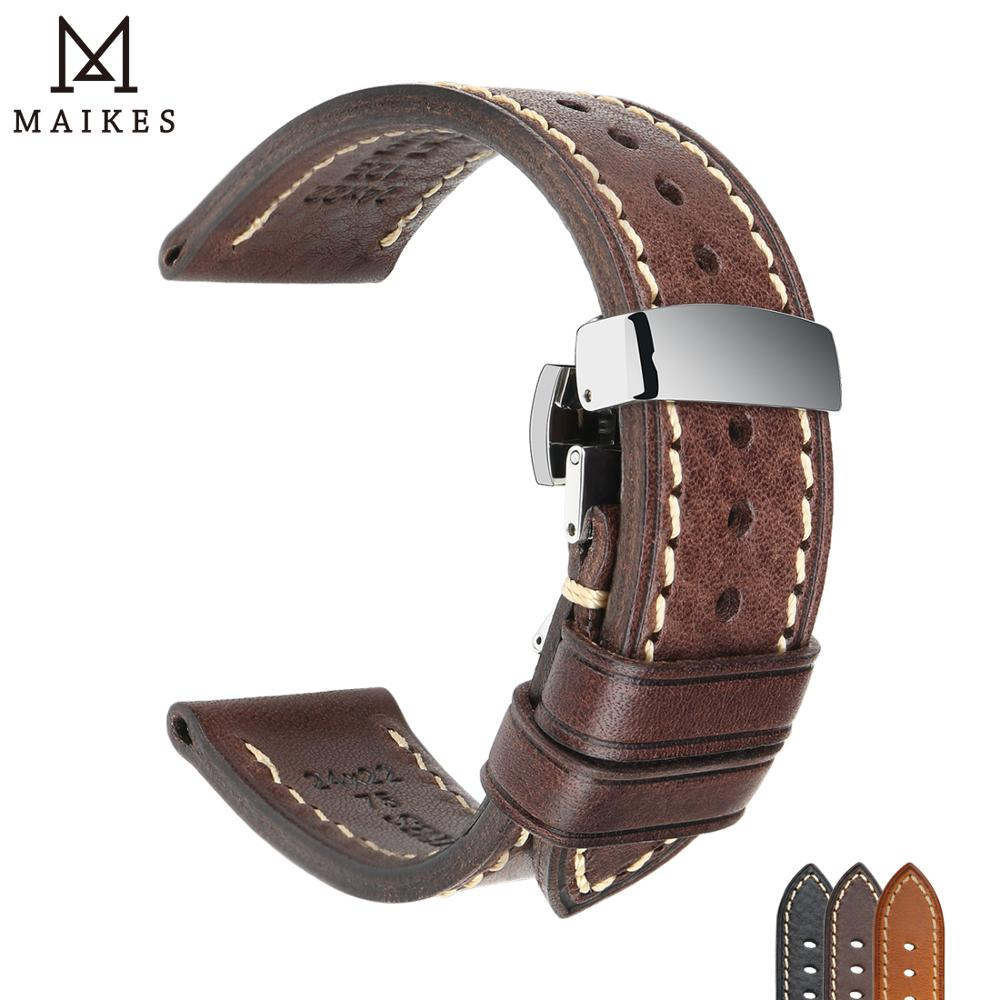 Luxury Handmade Watch Band Genuine Cow Leather Watch Strap With Butterfly Buckle Bracelet For Hamilton SEIKO Citizen Watchbands