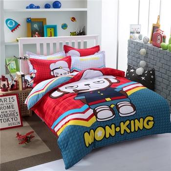 Cartoon Children Bed Linens Set Soft Comfortable Bedclothes  Kid Red Monkey Pillowcases Twin US Queen Bedding Duvet Cover Set