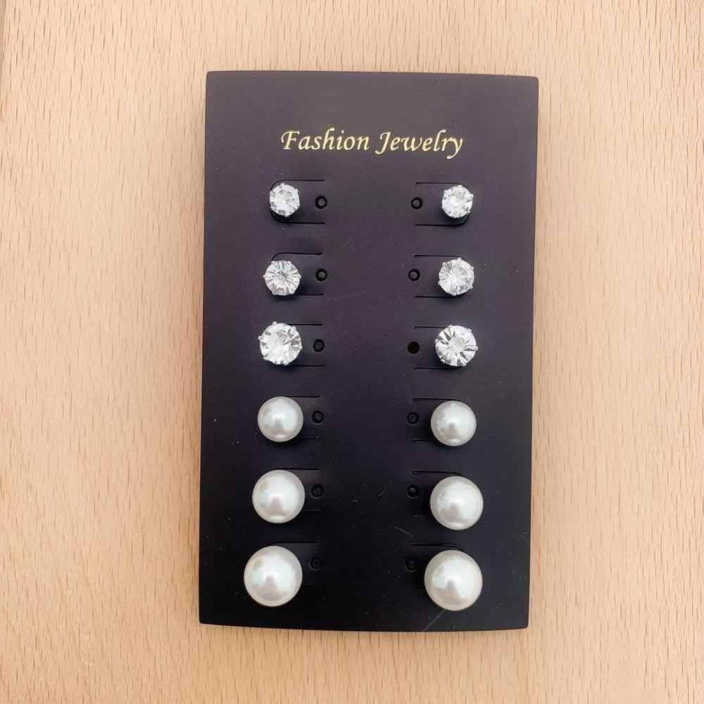 เงิน 6 คู่ต่างหูแฟชั่นเครื่องประดับต่างหูของขวัญงานแต่งงานหญิงอุปกรณ์เสริมคุณภาพดี