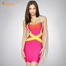Женское сексуальное летнее платье на бретельках знаменитостей, вечерние облегающее Бандажное платье, платье конфетного цвета, красный, черный, белый, Прямая поставка HL8676