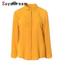SuyaDream, женская простая шелковая блузка, 100% шелк, креп, длинный рукав, отложной воротник, офисные блузки, 2020, Весенняя рубашка