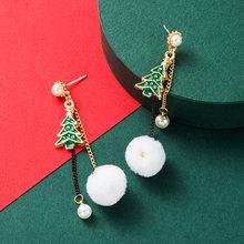 Милые серьги подвески в виде капли рождественской елки женские