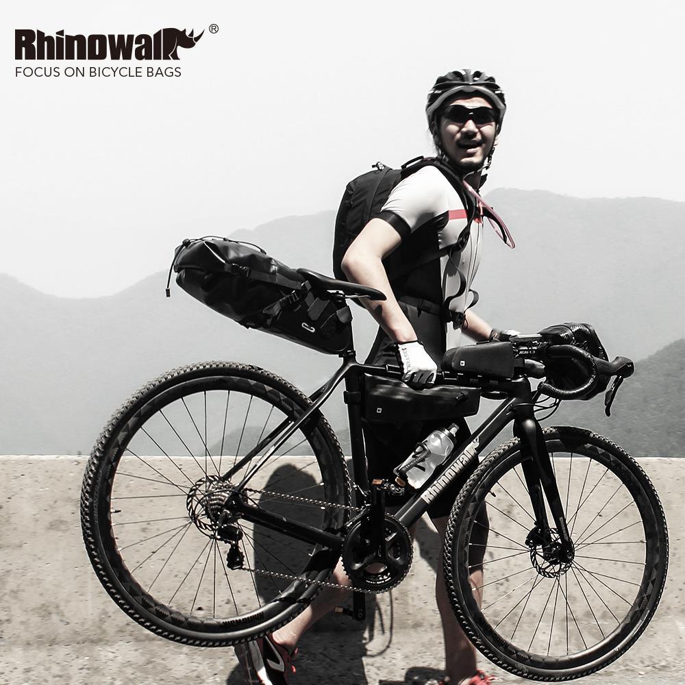 Купить с кэшбэком Rhinowalk MTB Bicycle Front Frame Bags Waterproof Cycling Tube Bag Large Capacity Road Bike Pannier Phone Case Black RK18330
