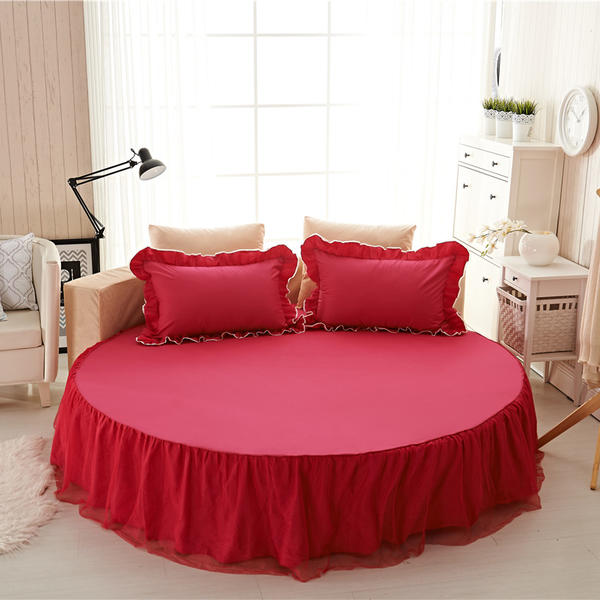1 Pcs 100% Cotton Solid Color Bed Sheet Fitted Sheet Round Bed Skirt Soft Sheet 200 / 220 Cm Queen Size Bedsheets Home decorat image