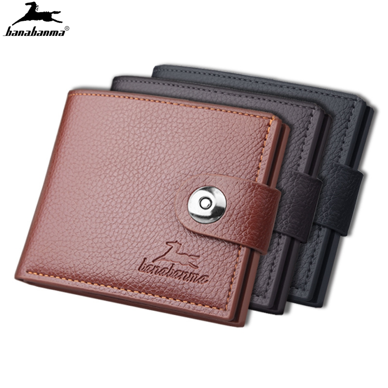Men's Wallet Hasp Short Wallets For Men Made Of Natural Leather PU Wallet Card Holder Perfect For You Magnetic Purses Small