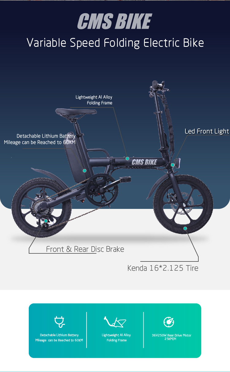 CE approved folding ebike 16 inch pedal assisted electric fold bike with 36V 13AH lithium battery 7
