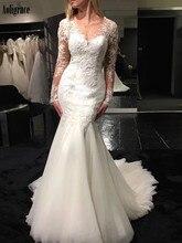 цена на Gorgeous Lace Mermaid Wedding Dresses Sheer Neck Illusion Long Sleeves Sweep Train Garden Bridal Gowns Country Vestidoe De Noiva