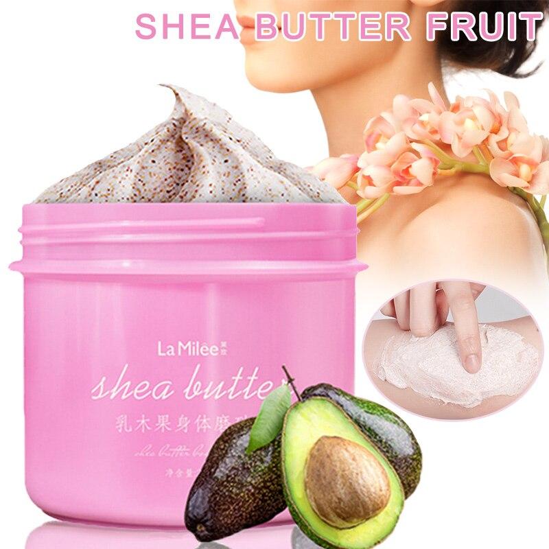 Body Scrub Exfoliating Gel Cream Shea Butter Fruit Skin Whitening Skin Moisturizing 250g QS888
