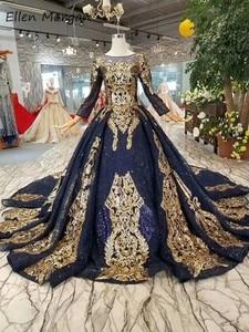 Image 2 - น้ำเงินแขนยาวGownsชุดแต่งงาน 2020 อาหรับมุสลิมแอฟริกันสีดำผิวทองลูกไม้VINTAGEสำหรับเจ้าสาวสวมใส่