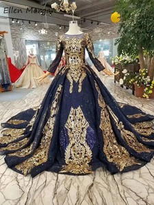 Image 2 - Navy Blue Long Sleeves Ball Gowns Wedding Dresses 2020 Arabic Muslim African Black Skin Gold Lace Vintage for Bridal Women Wear