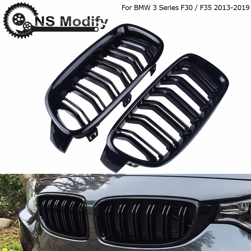 Автомобильная передняя решетка NS Modify, спортивный гриль для гонок, блестящая черная двойная планка, ножка для BMW 3-Series F30 F35 2013-2019