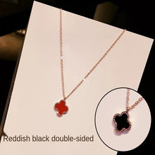 Colorful XL5401 Clover Necklace Pendant Sterling Silver women Vintage Classic Jewelry Flower Necklace Double-sided design-Red