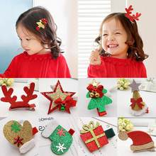 Baby Girl Christmas Tree Sock Cap Hat Star Gloves Shape Hairpin Hair Clips 2019(China)