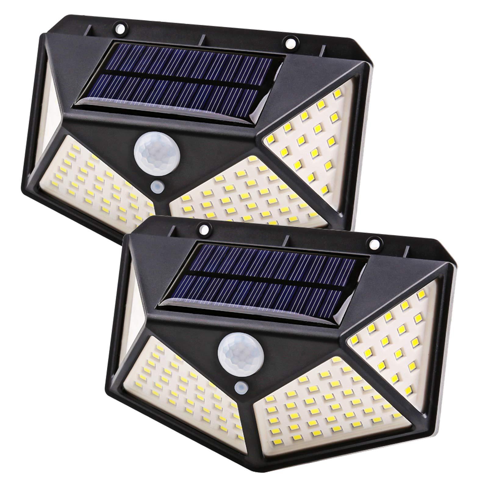 100 LED Solar Wall Lamp PIR Motion Sensor Light Outdoor Waterproof Garden Courtyard Solar Street Lights Lighting 3 Modes