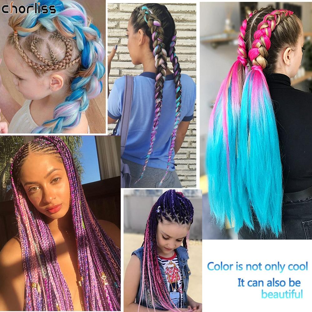Chorliss 24 pouces longue synthétique Crochet Jumbo tresse Ombre rose violet bleu blond Kanekalon tressage cheveux dextension de cheveux pour les femmes