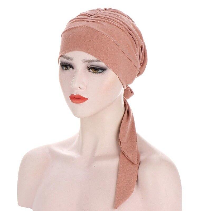 Chapéu de turbante muçulmano para mulher pré-amarrado quimio beanies caps bandana lenço de cabeça envoltório para câncer acessórios de cabelo