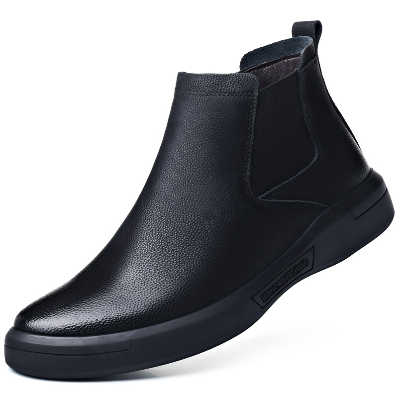 British fashion men warm fur chelsea boots cow leather cotton winter shoes black slip-on ankle boot chaussure homme bota zapatos