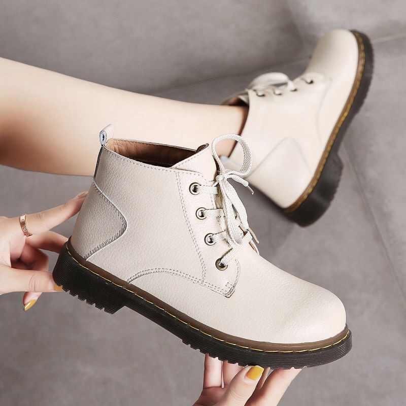 PEIPAH Echt Leer vrouwen Laarzen Platte Platform Laarzen Vrouwen Schoenen Herfst Winter Ronde Neus Lace-up Enkellaars voor Vrouw
