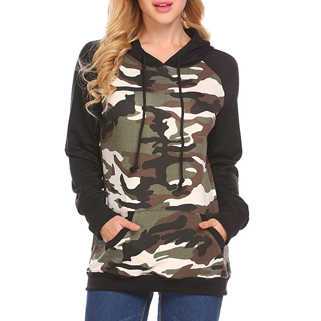 Women hoodies Casual harajuku Autumn O Neck Long Sleeve Camouflage Print Hooded Tops moletom feminino inverno sweatshirt