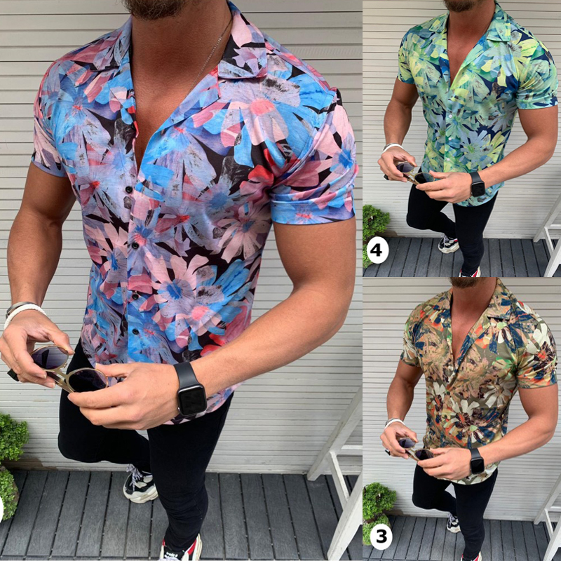 New Men's Floral Shirt Short Sleeve Casual Shirt Fashion Rose Flower 3D Printed V Neck Collar Slim Fit Shirt For Mens Clothing